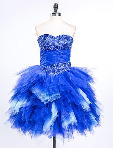 Ball gown kulta lyhyt / mini satiini tulle cocktail party mekko helmillä laskoksia