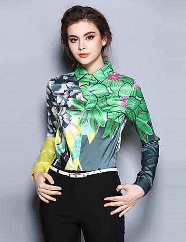 Polyester Grønn Medium Langermet,Skjortekrage Skjorte Trykt mønster Alle sesonger Vintage Ut på byen Dame