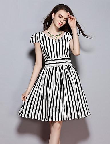 sybel kvinders gå ud street chic løs kjole, stribet rund hals over knæet kortærmet sort polyester sommer