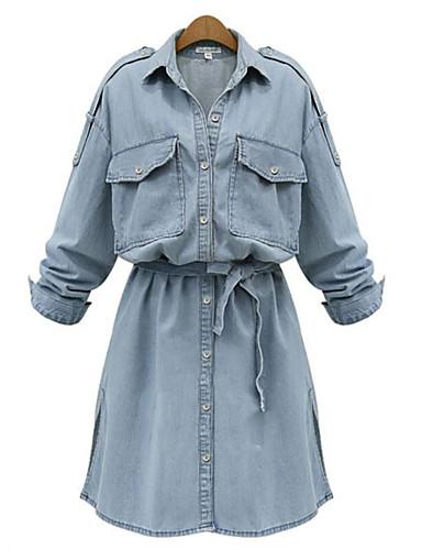Damen Hemd Kleid-Alltag Übergröße Street Schick Solide Hemdkragen Übers Knie Langarm Elasthan Sommer Mittlere Hüfthöhe Mikro-elastisch