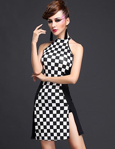 48677733938b Balli latino-americani Vestiti Per donna Prestazioni Rayon   Fibra di latte  Leopardo Senza maniche Naturale Abito   Pantaloncini   Ballo latino