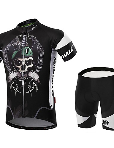 cheap Cycling Clothing-Malciklo Men's Short Sleeve Cycling Jersey with Shorts - Golden+Silver Bike Clothing Suit Breathable 3D Pad Quick Dry Back Pocket Sports Coolmax® Lycra Pirate Mountain Bike MTB Road Bike Cycling