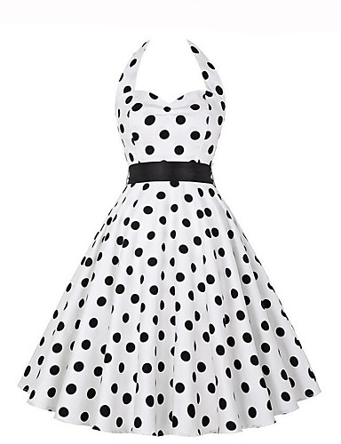Dames Uitgaan Vintage A-lijn Jurk Polka dot-Halter Tot de knie Mouwloos Polyester Zomer Medium taille Micro-elastisch