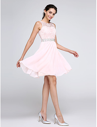 cheap Prom Dresses-A-Line Illusion Neck Short / Mini Chiffon / Corded Lace Cocktail Party Dress with Crystals / Lace Insert by TS Couture®