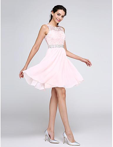 preiswerte Abendkleider-A-Linie Illusionsausschnitt Kurz / Mini Chiffon / Geschnürte Spitze Cocktailparty Kleid mit Kristall Verzierung / Spitzeneinsatz durch TS Couture®