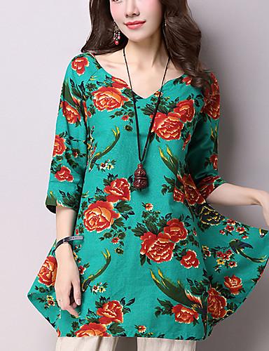 3/4 ærmelængde V-hals Medium Kvinders Sort / Grøn Blomstret Forår / Efterår Vintage Casual/hverdag Bluse,Bomuld / Hør