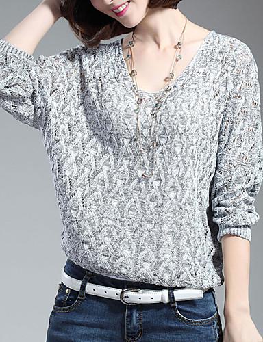 Damen Solide Alltag Ausgehöhlt Freizeit Pullover Langarm V-Ausschnitt Winter Baumwolle