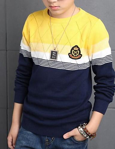 Menino de Suéter & Cardigan,Casual Color Block Algodão Primavera / Outono Vermelho / Amarelo