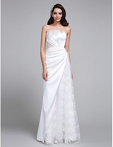 A-Line Strapless Floor Length Lace Satin Wedding Dress with Lace by LAN TING BRIDE®