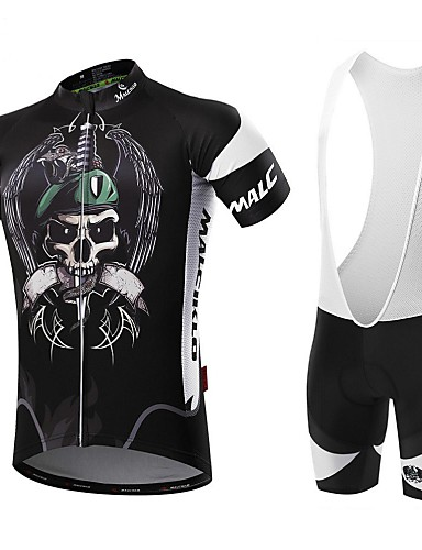 cheap Cycling Clothing-Malciklo Men's Short Sleeve Cycling Jersey with Bib Shorts - White Black Bike Clothing Suit Breathable 3D Pad Quick Dry Back Pocket Sports Coolmax® Lycra Pirate Mountain Bike MTB Road Bike Cycling