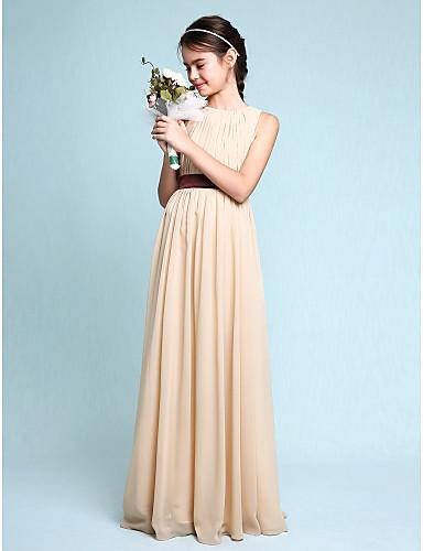 Sheath / Column Scoop Neck Floor Length Chiffon Junior Bridesmaid Dress with Draping by LAN TING BRIDE® / Natural