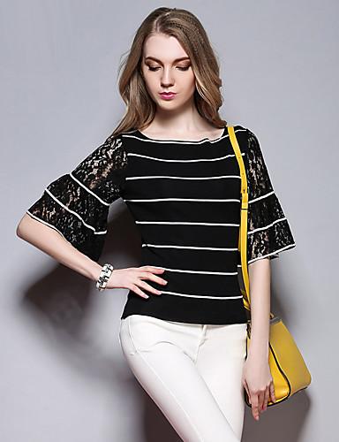 sybel naisten vapaa-ajan / päivittäin yksinkertainen kesä t-paita, raidallinen pyöreä kaula ½ pituus hihan musta puuvilla keskipitkän