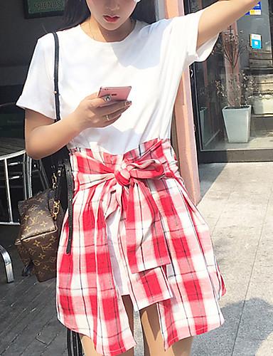 Kvinders Simpel I-byen-tøj / Casual/hverdag / Plusstørrelser T Shirt Kjole Ensfarvet / Patchwork,Rund hals Over knæet Kortærmet Rød / Sort