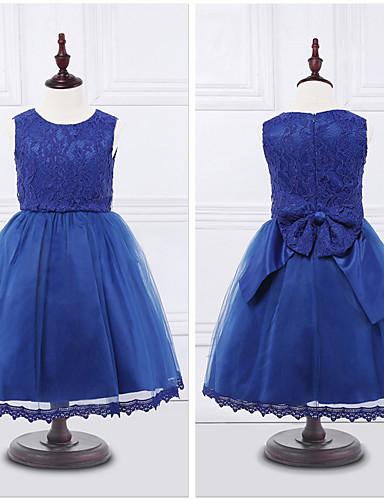 Kjole kjole te længde blomst pige kjole - organza ermeløs juvel hals med bue (r) blonde