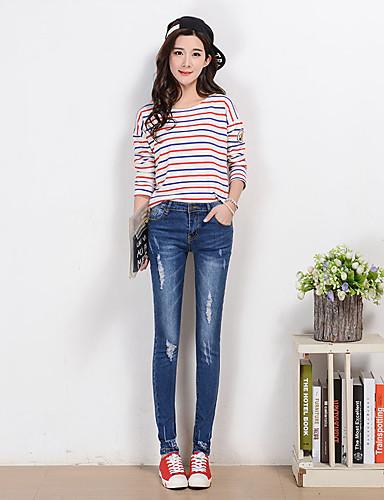 Kvinders Simpel Jeans Bukser Mikroelastisk Rayon