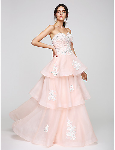 A-Line Sweetheart Neckline Floor Length Organza Cocktail Party / Prom / Formal Evening Dress with Beading / Appliques by TS Couture®