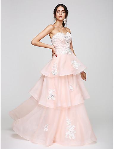 A-Şekilli Kalp Yaka Yere Kadar Organze Boncuklama Aplik ile Balo / Resmi Akşam Elbise tarafından TS Couture®