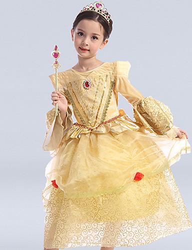 Kjole kjole te længde blomst pige kjole - tyll lange ærmer scoop hals med sequin