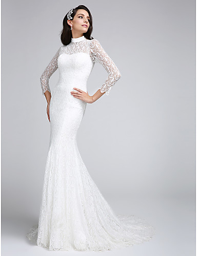 Mermaid / Trumpet Illusion Neck Court Train All Over Lace Made-To-Measure Wedding Dresses with Lace by LAN TING BRIDE® / See-Through