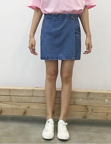 Kvinders Simpel Shorts / Jeans Bukser Mikroelastisk Bomuld / Polyester