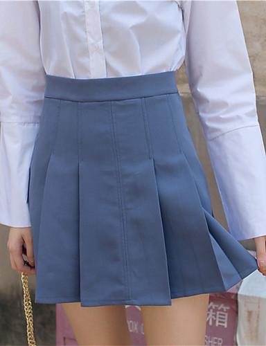 Kvinders Simpel Over knæet Nederdele Mikroelastisk Bomuld