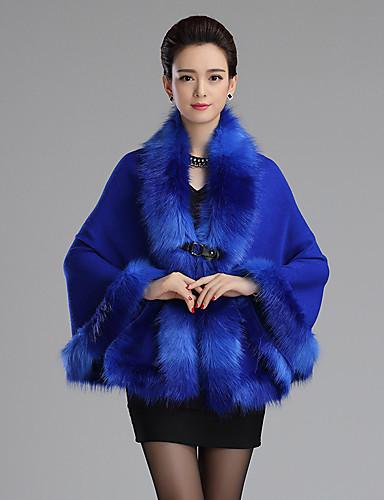 Dame Simpel I-byen-tøj Normal Cloak / Capes Ensfarvet,Blå / Rød / Sort Rund hals Uden ærmer Akryl Efterår / Vinter Medium Mikroelastisk
