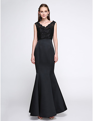 Mermaid / Trumpet V-neck Floor Length Lace Satin Bridesmaid Dress with Lace by LAN TING BRIDE®