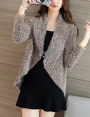Dames Uitgaan Street chic Normaal Vest Luipaard-Wit Bruin Overhemdkraag Driekwart mouw Imitatiebont Herfst Winter Medium Rekbaar