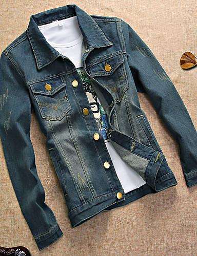 Herren Solide Einfach Freizeit Alltag Jeansjacke,Hemdkragen Winter Herbst Langärmelige Standard Baumwolle Polyester