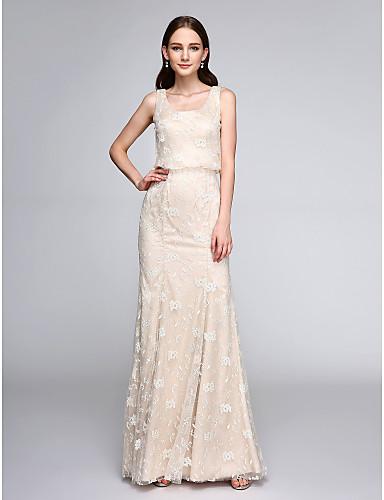 בתולת ים \ חצוצרה סקופ צוואר עד הריצפה תחרה שמלה לשושבינה  עם תחרה על ידי LAN TING BRIDE®