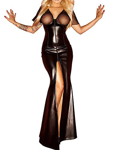 Damen Besonders sexy Nachtwäsche,SexyPU Mittelmäßig Schwarz Damen