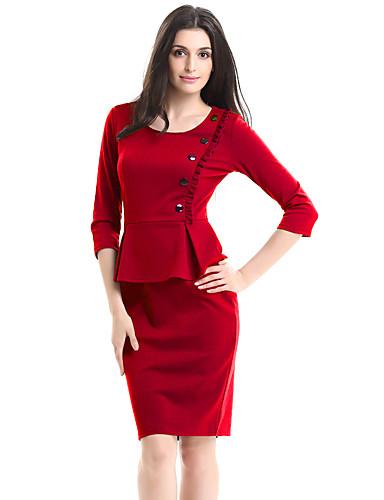 Mujer Corte Bodycon Vestido Trabajo Tallas Grandes Vintage,Un Color Escote Redondo Sobre la rodilla Manga 3/4 Algodón PoliésterPrimavera
