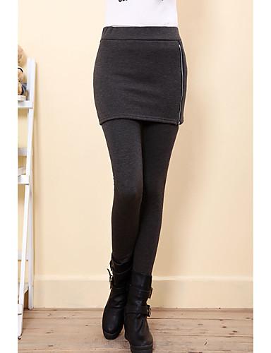Mulheres Diário Algodão Básico Legging - Sólido, Com Transparência Cintura Média / Primavera / Outono / Inverno / Skinny