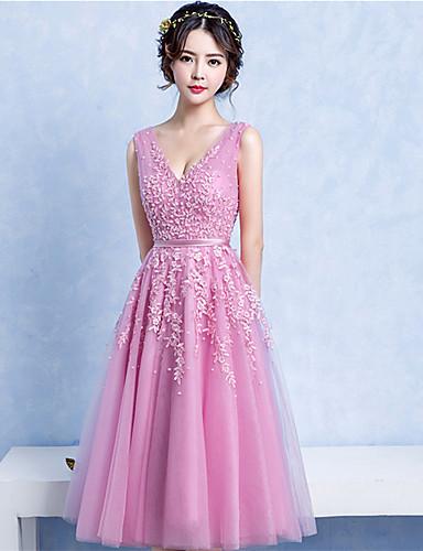 Bal jurk v-hals thee lengte kant tule prom jurk met kralen