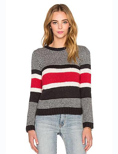 Dames Casual/Dagelijks Street chic Normaal Pullover Kleurenblok-Zwart Ronde hals Lange mouw Katoen Lente Herfst Medium Micro-elastisch