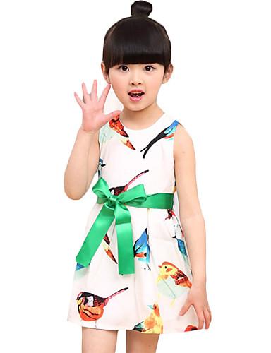 Pigens Kjole Rayon Dyremønster I-byen-tøj Sommer Grøn