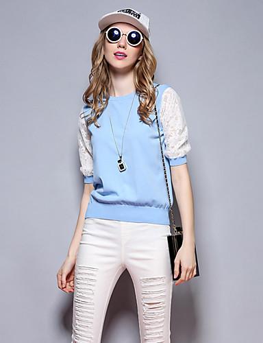 Dame Vintage / Sødt Casual/hverdag Kort Pullover Patchwork,Blå / Rosa / Hvid / Sort Rund hals 1/2 ærmelængde Rayon Alle årstider / Sommer