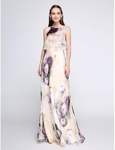 billige Todelte kjoler-Tube / kolonne Besmykket Gulvlang Chiffon To deler Skoleball Kjole med Mønster / trykk av TS Couture®