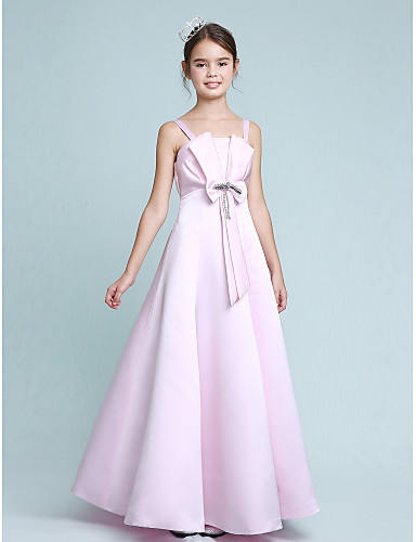 39bfa8e98bb A-Line   Princess Spaghetti Strap Floor Length Stretch Satin Junior Bridesmaid  Dress with Beading   Bow(s) by LAN TING BRIDE®   Empire   Spring   Summer  ...
