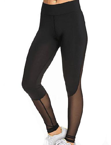 Damer Ensfarvet Kryds og tværs splittet Legging,Net Polyester