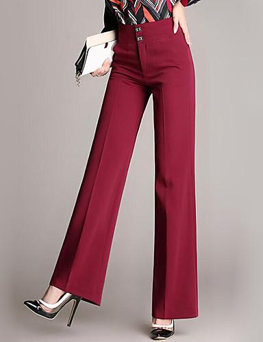 abordables Pantalons Femme-Femme Chic de Rue Grandes Tailles Travail Ample Entreprise Pantalon - Couleur Pleine / Dentelle Coton Bleu marine Vin S M L