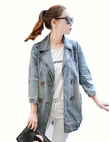 Vrouwen Street chic Herfst Trenchcoat,Uitgaan Ingesneden revers-Driekwart mouw Blauw Effen Medium Katoen / Polyester