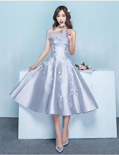 A-linje stroppeløs telengde sateng cocktail party kjole med beading