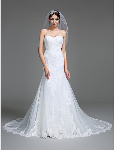 0b95d629b0a4 Mermaid / Trumpet Sweetheart Neckline Court Train Tulle Made-To-Measure Wedding  Dresses with Appliques by LAN TING BRIDE® 5168000 2019 – $279.99