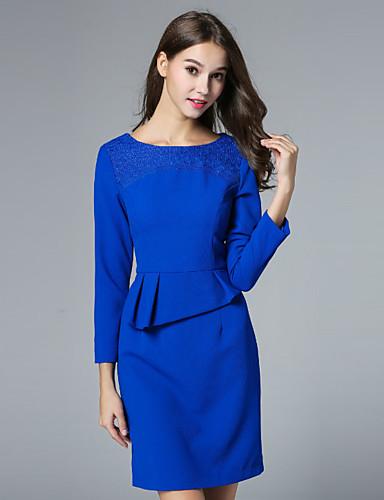 klimeda naisten työn yksinkertainen muutos mekko, kiinteä pyöreä kaula edellä polven ¾ hiha sininen / punainen polyesteri lasku