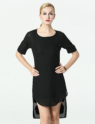 klimeda naisten vapaa-ajan / päivittäin yksinkertainen muutos mekko, kiinteä pyöreä kaula epäsymmetrinen lyhythihainen musta polyesteri fall