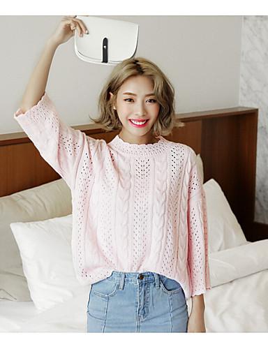 Damer Sødt I-byen-tøj Normal Pullover Ensfarvet,Rund hals Langærmet Bomuld Polyester Forår Sommer Medium Mikroelastisk