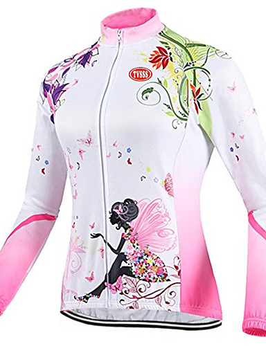 cheap Cycling Clothing-TVSSS Women's Long Sleeve Cycling Jersey British Floral / Botanical Bike Top Breathable Sports Winter Coolmax® Terylene Lycra Clothing Apparel / High Elasticity