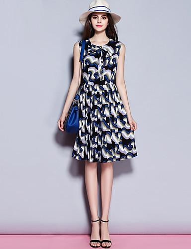sybel kvinders gå ud / daglig street chic kappe kjole, udskrive rund hals knælange ærmeløs blå polyester