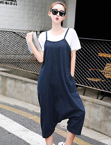 Feminino Simples Cintura Média Micro-Elástica Harém Solto Jeans macacão Calças,Harém Solto Jeans macacão Sólido